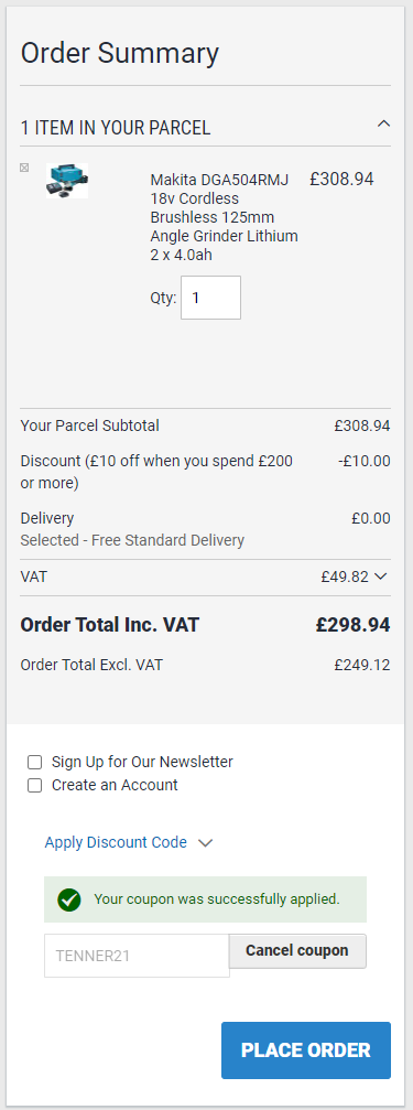 Buyaparcel Voucher Code Checkout Example