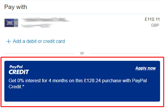 Buyaparcel Paypal Credit - 4 Months Interest Free Finance