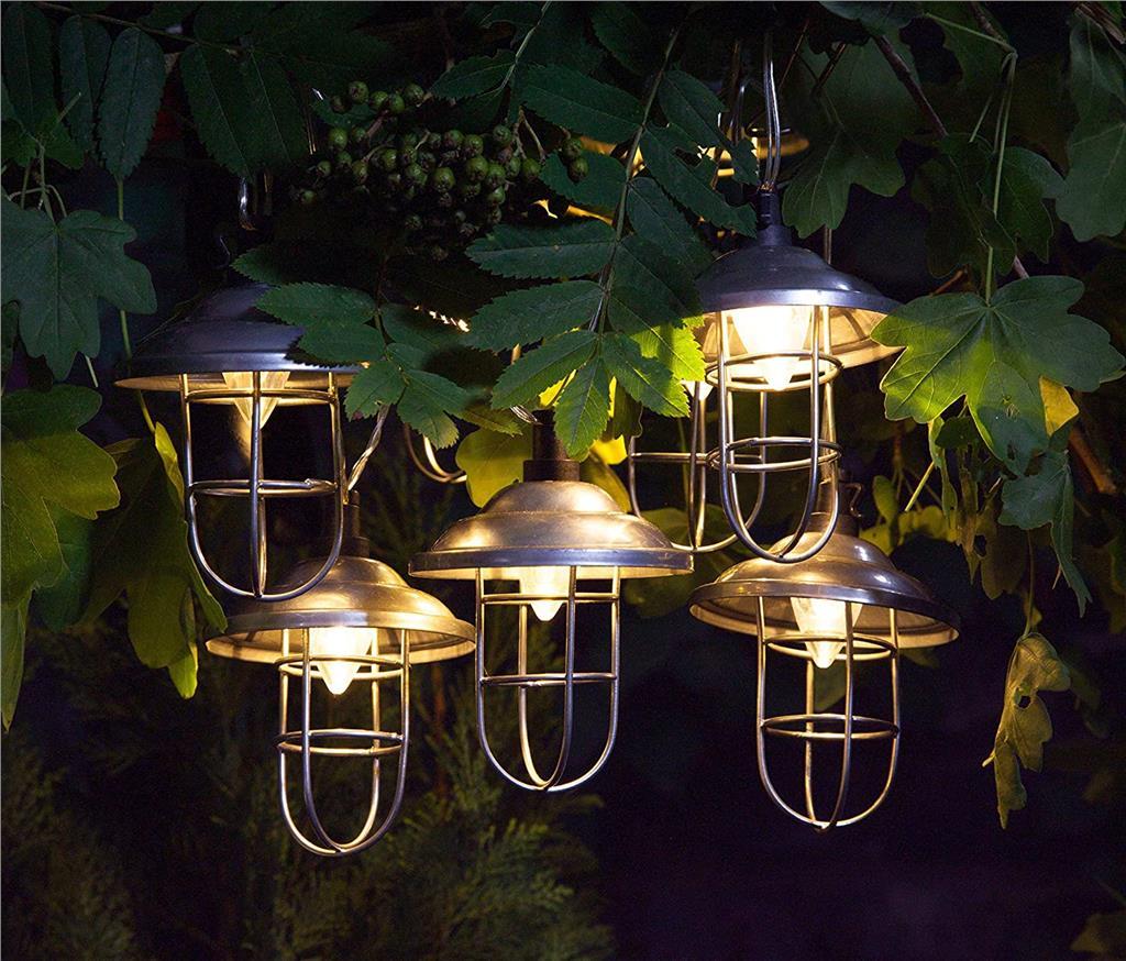 10 X Noma Solar Galvanised Metal String Garden Fishermans Lantern Lights Led Buyaparcel
