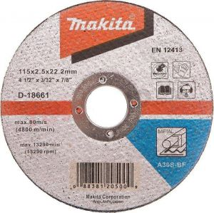 "Makita 115mm 4.5"" Metal Cutting Disc 22mm Bore Flat Disc Metal Masonry 1,2,10 - D-18661-2"