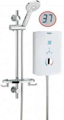 Bristan Bliss 9.5kw Touch Screen Digital LCD White Electric Shower + Riser Rail