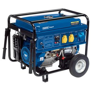 Draper Petrol Generator 6.5KVA / 6.0KW 15HP Petrol Engine on Wheels 16143