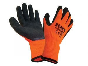 12 Pairs Scan SCAGLOKSTHER Knitshell Thermal Gloves Orange and Black - 12 Pairs