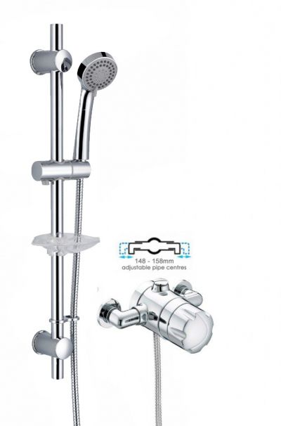 Bristan Sirrus Gummers Opac Exposed Thermostatic Mixer Shower + Riser Rail