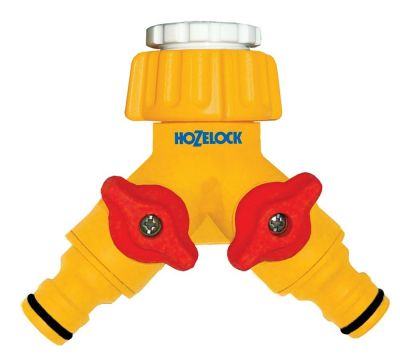 Hozelock 2256 Dual 2 Way Hose Tap Connector Two Hoses One Tap