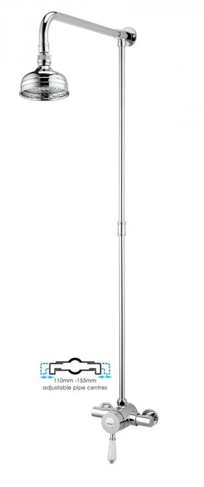 Bristan Colonial 2 Exposed Traditional Shower Mixer + Rose + Rigid Riser 110-155