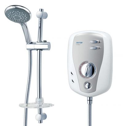 Triton T100xr 9.5KW Electric Shower White & Brushed Chrome Fascia - Rp T80XR