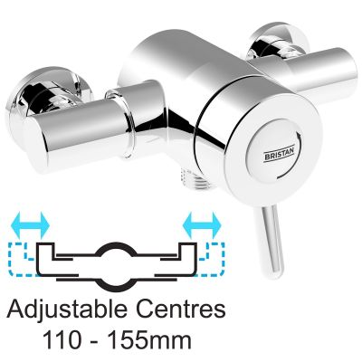 Bristan Traditional Exposed Thermostatic Mixer Lever Shower Valve 110mm 155mm