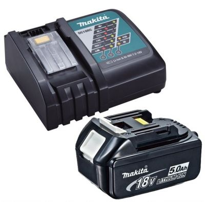 Genuine Makita 18V 5.0Ah LXT Lithium Battery BL1850 + DC18RC Fast Charger