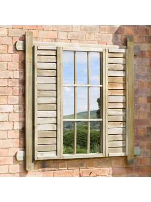 Zest 4 Leisure Garden Wooden Snowdrop Mirror Shutter Window Outdoor Indoor